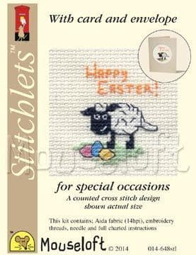 Mouseloft Happy Easter Lamb Card Easter Stitchlets cross stitch kit
